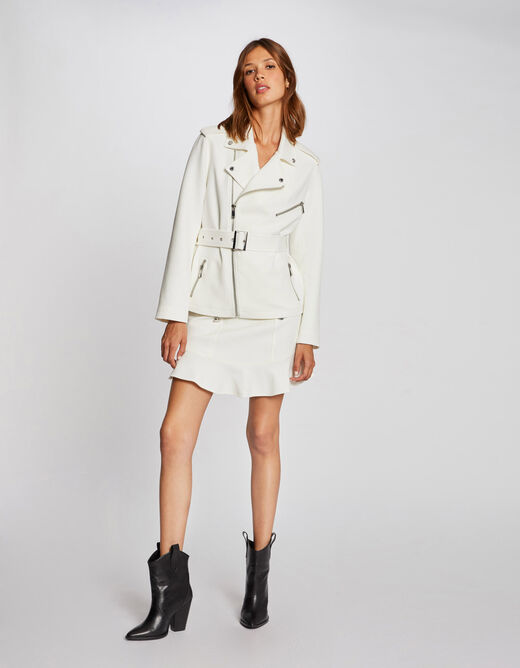Straight zipped and belted jacket ecru ladies'