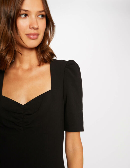 Waisted dress with sweetheart neckline black ladies'