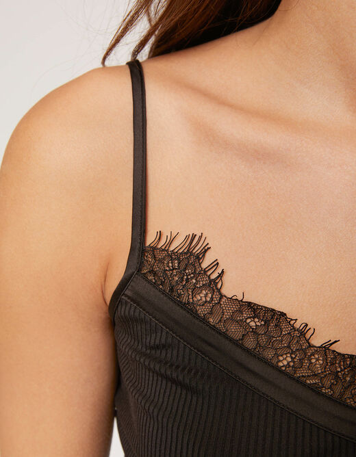 Vest top with thin straps and lace black ladies'