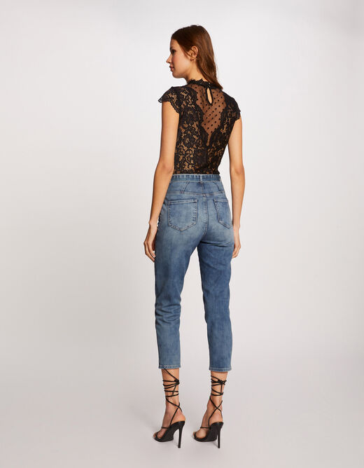 Short-sleeved body with lace black ladies'