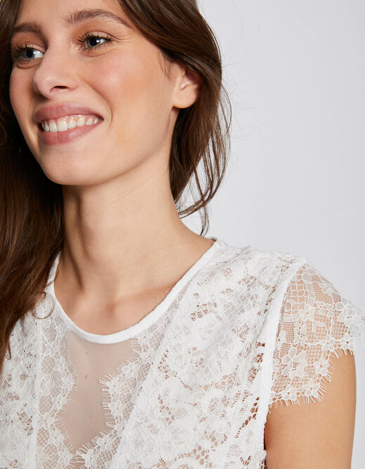 Short-sleeved body with lace ecru ladies'