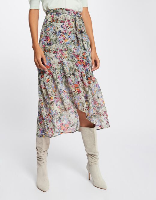 Midi A-line skirt with floral print multico ladies'
