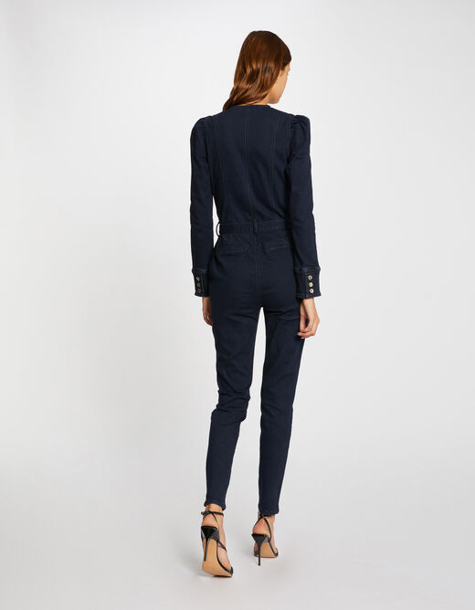 Fitted belted jumpsuit raw denim ladies'