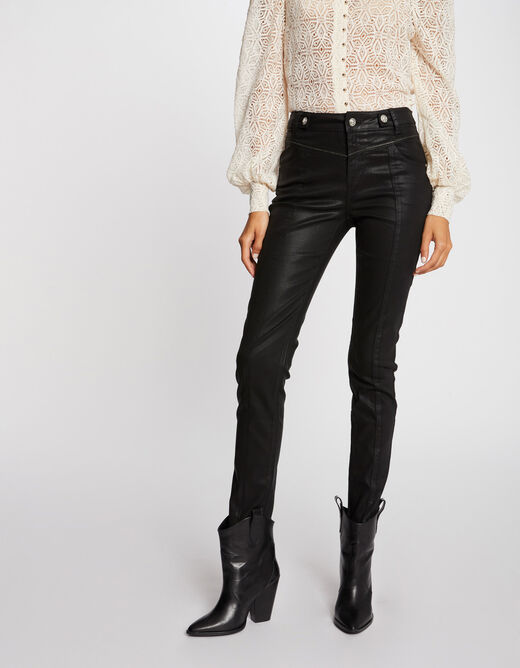 Slim trousers with wet effect and tabs black ladies'