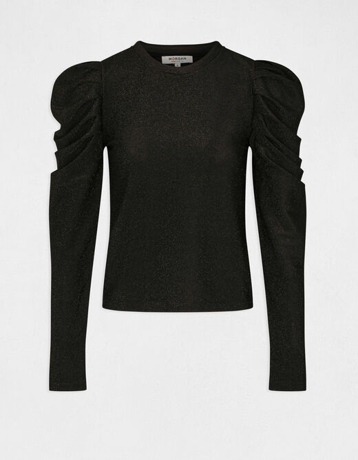 T-shirt with puff long sleeves black ladies'