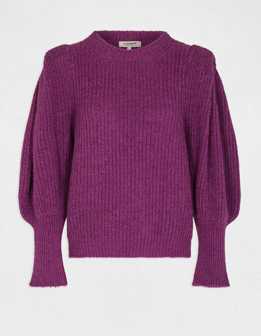 Jumper with puff long sleeves pink ladies'
