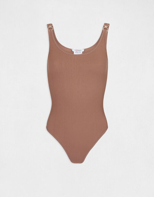 Body with wide straps and ornaments taupe ladies'