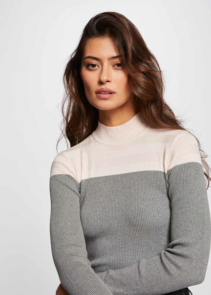 Pull manches longues col montant rose pale femme