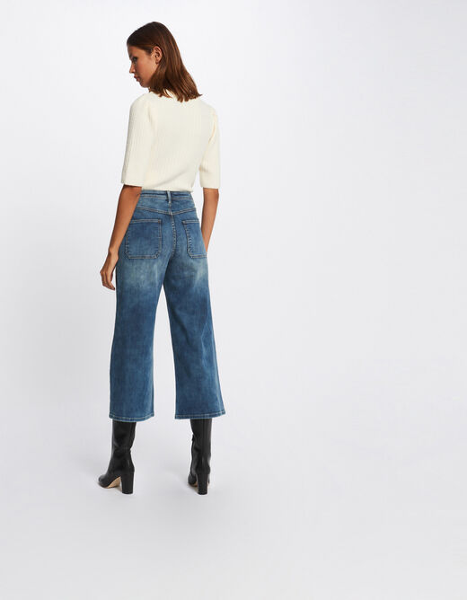High-waisted cropped wide leg jeans stone denim ladies'
