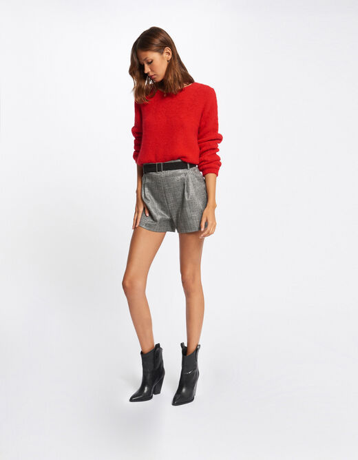 Checked high-waisted straight shorts multico ladies'