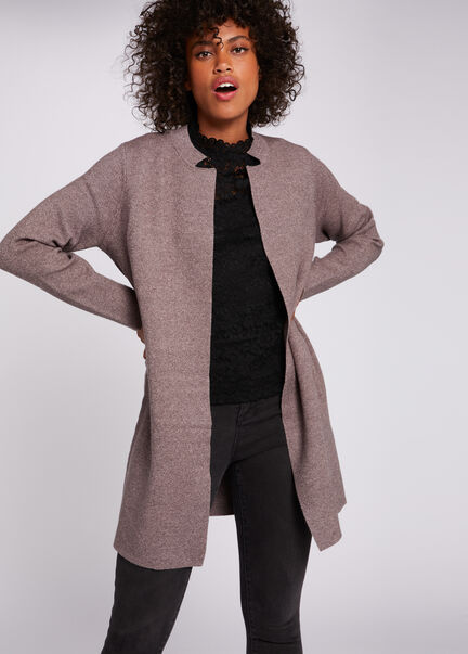 Gilet a manches longues taupe femme