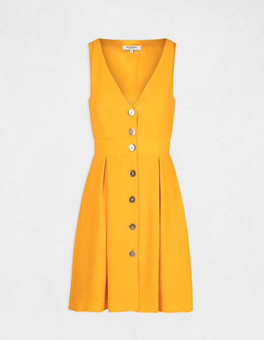 Loose A-line buttoned dress yellow ladies'