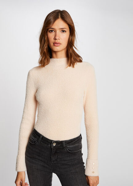 Pull manches longues maille duveteuse beige femme