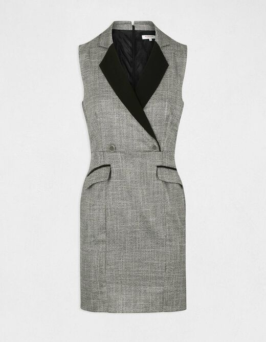 Straight dress with notched lapel collar light grey ladies'