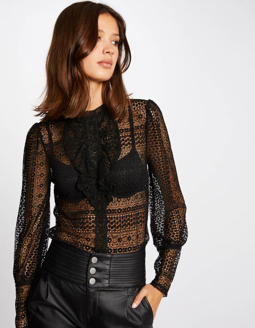 Long-sleeved t-shirt with lace black ladies'
