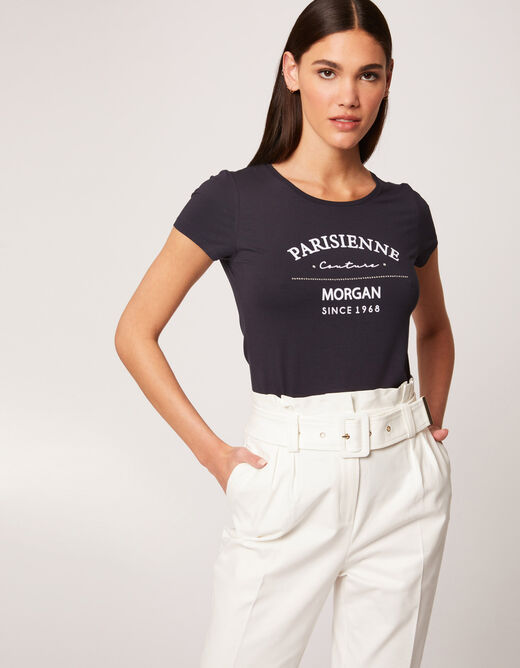Short-sleeved t-shirt with message navy ladies'