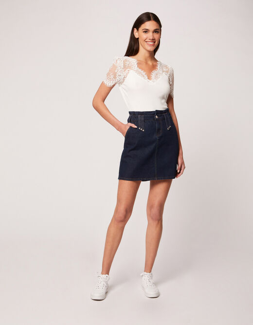 Short-sleeved t-shirt with lace ecru ladies'