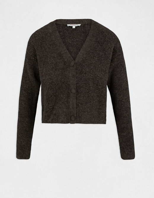 Long-sleeved cardigan with V-neck anthracite grey ladies'