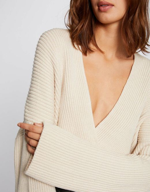 Long-sleeved jumper with ribbed knit beige ladies'