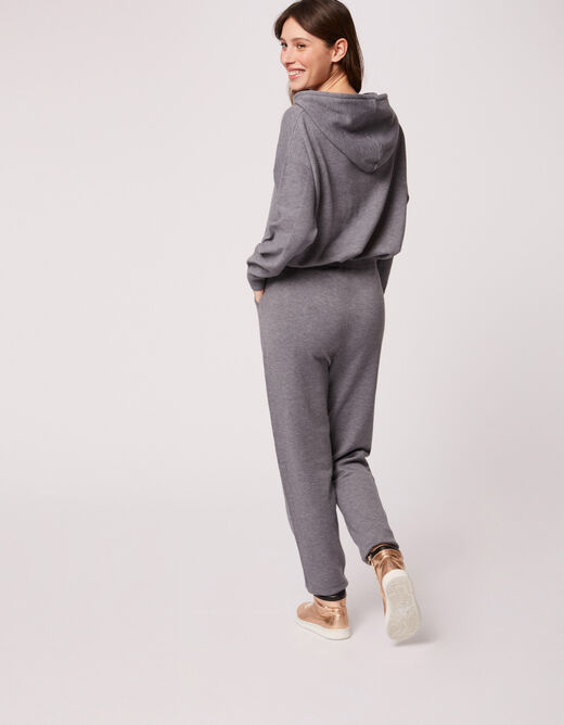 Knitted straight trousers mid-grey ladies'