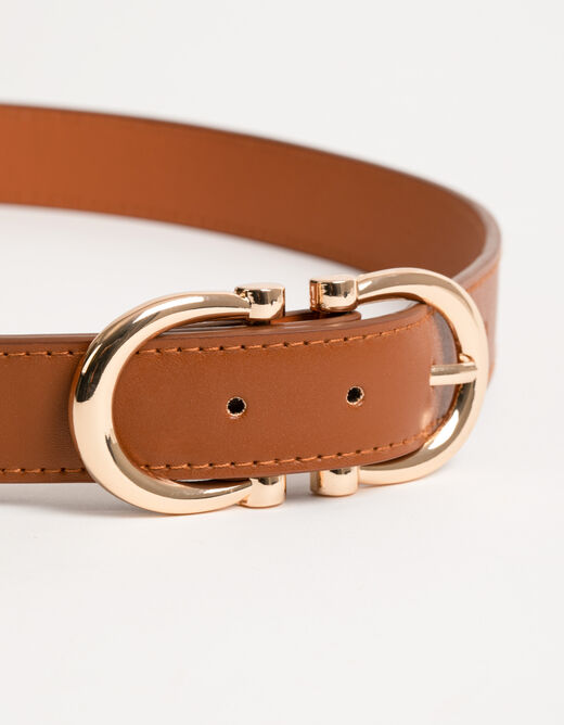 Belt with double buckle caramel ladies'