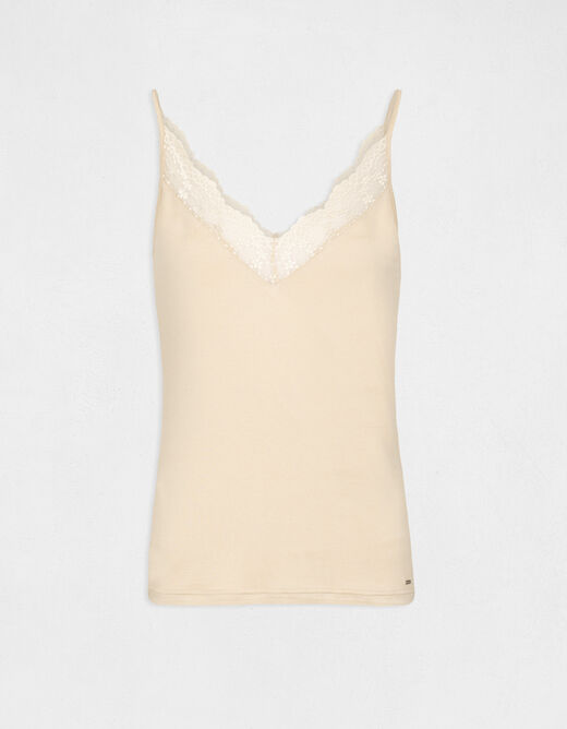 Vest top with thin straps and lace sand ladies'
