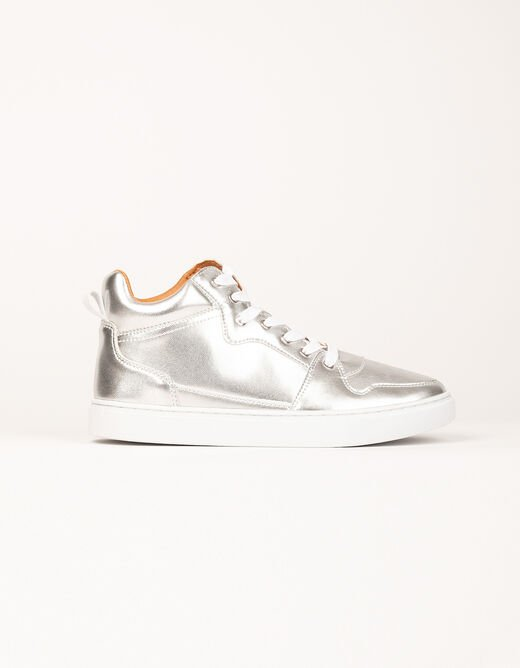 High top trainers with metallised effect silver ladies'