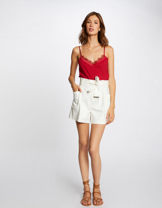 Vest top with thin straps and lace red ladies'