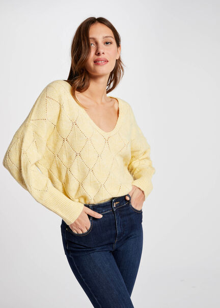 Pull manches longues amples jaune paille femme