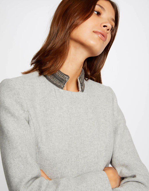 Straight coat with jewelled details light grey ladies'
