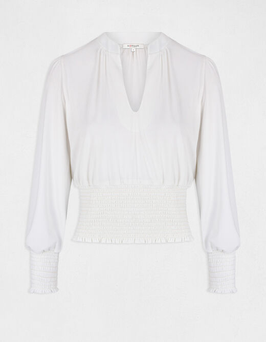 Long-sleeved t-shirt with V-neck ecru ladies'