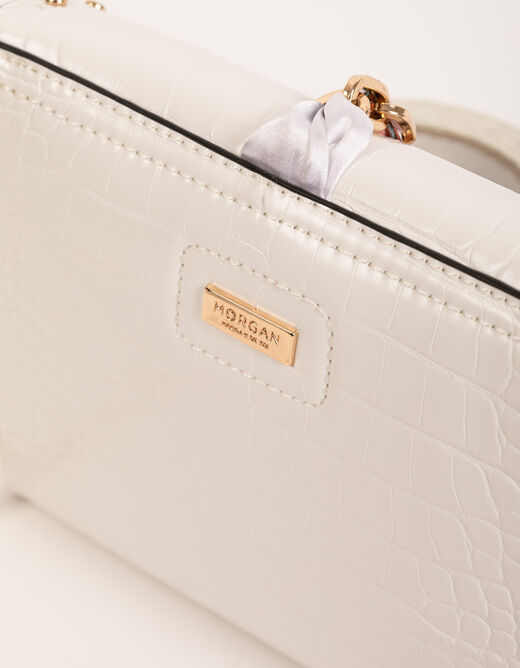 Clutch bag with scarf detail white ladies'