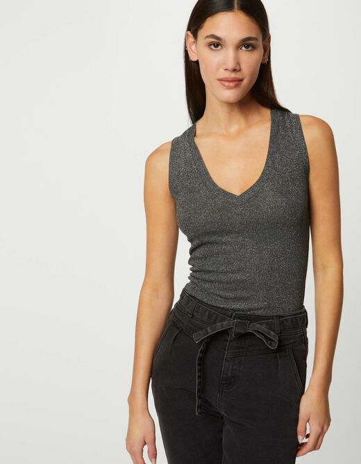Ribbed vest top with wide straps anthracite grey ladies'