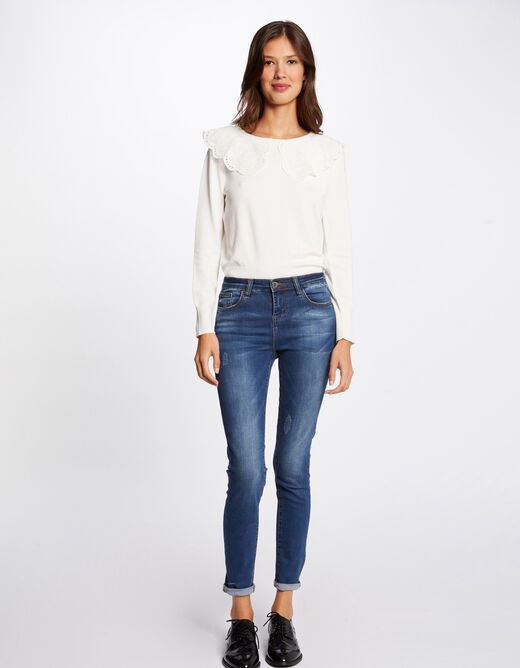 Long-sleeved jumper with lace ivory ladies'