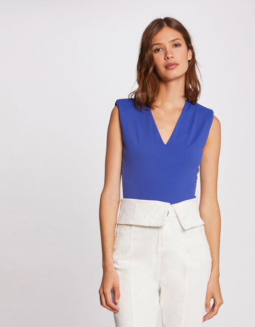 Sleeveless body with padded shoulders electric blue ladies'