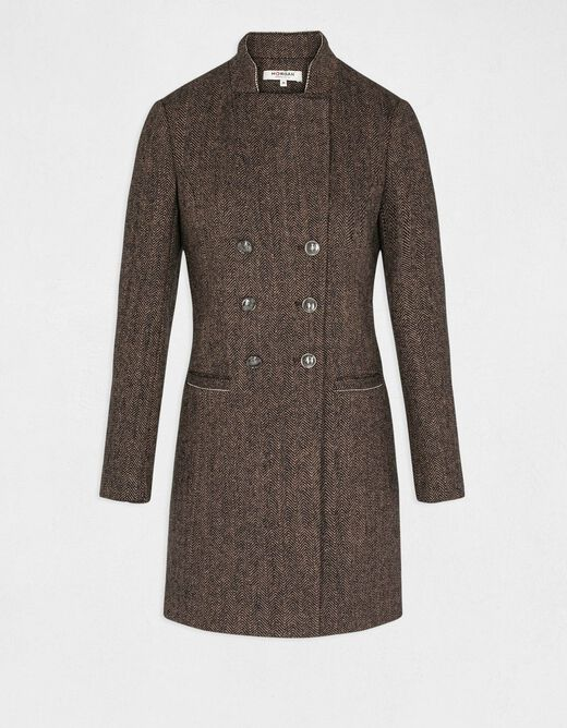 Straight buttoned coat with high collar taupe ladies'