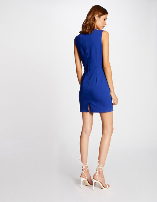 Fitted dress with sweetheart neckline electric blue ladies'