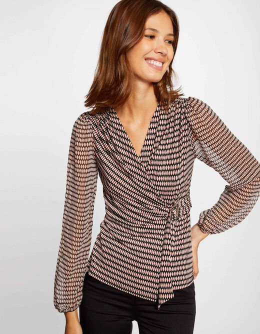 Long-sleeved t-shirt abstract print multico ladies'