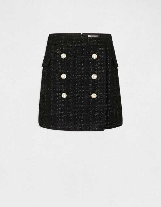 High-waisted straight skirt with buttons black ladies'