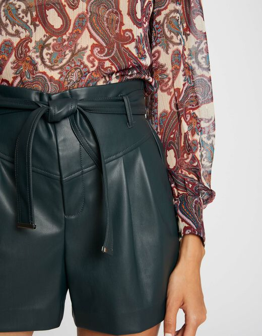 High-waisted straight belted shorts dark green ladies'