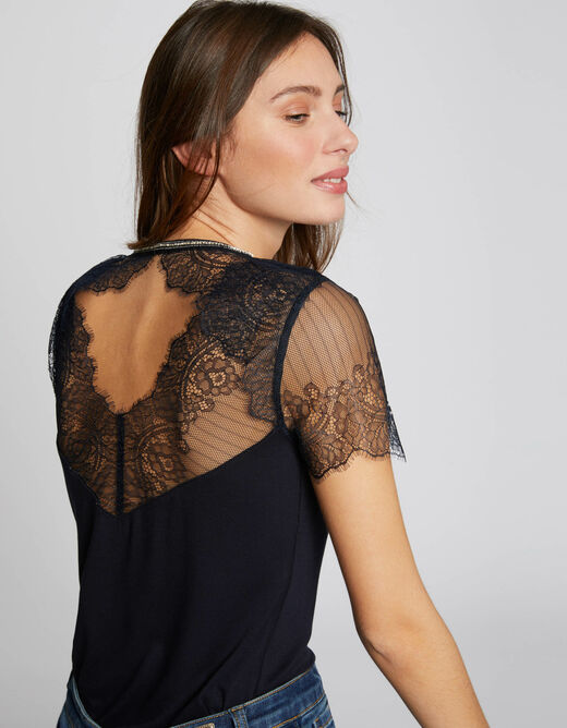 Short-sleeved t-shirt with lace navy ladies'