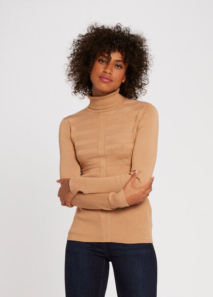 Pull manches longues col roule camel femme