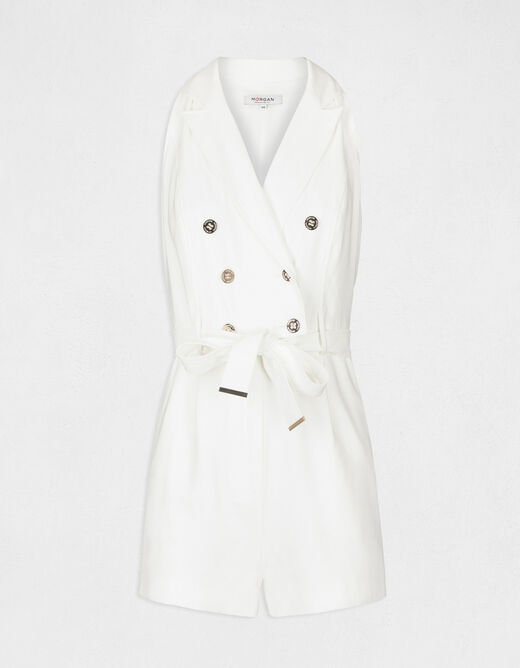 Belted straight playsuit with buttons ecru ladies'
