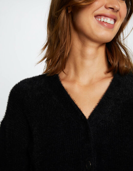 Buttoned long-sleeved cardigan black ladies'