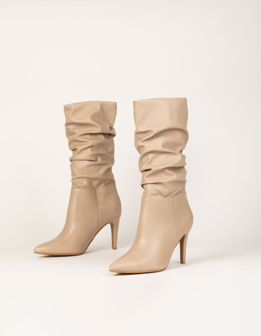 Pleated boots with stiletto heels beige ladies'