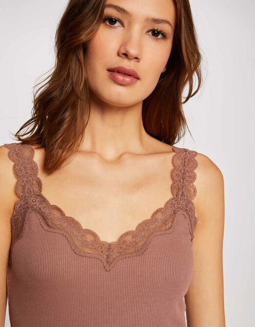 Vest top with wide straps and lace taupe ladies'
