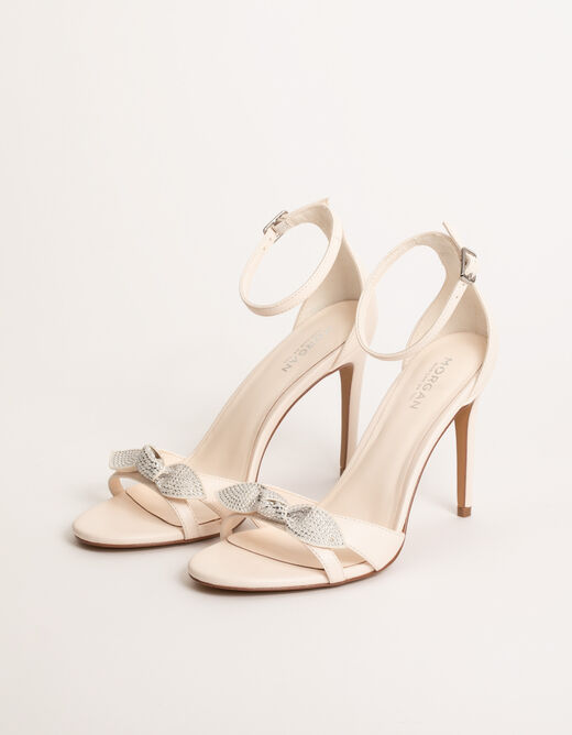 Sandals with heels and bows beige ladies'