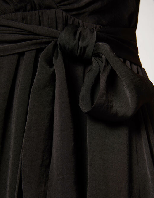 A-line dress with ruffles black ladies'