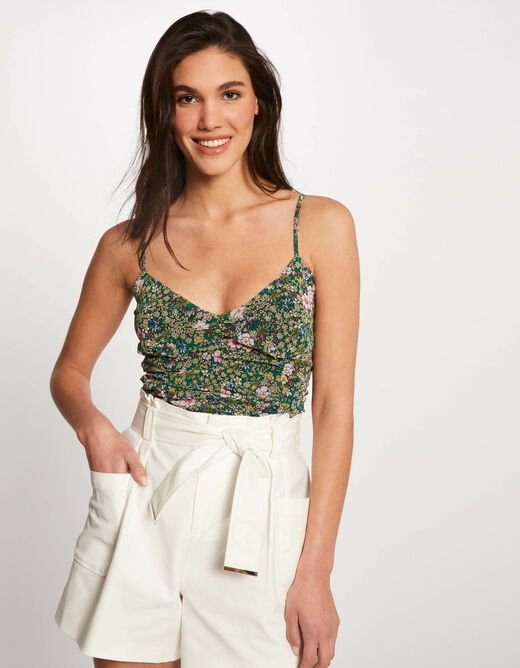 Vest top thin straps with floral print green ladies'