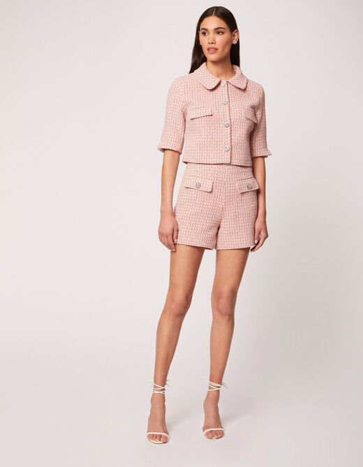 Straight shorts buttons jewelled details pink ladies'